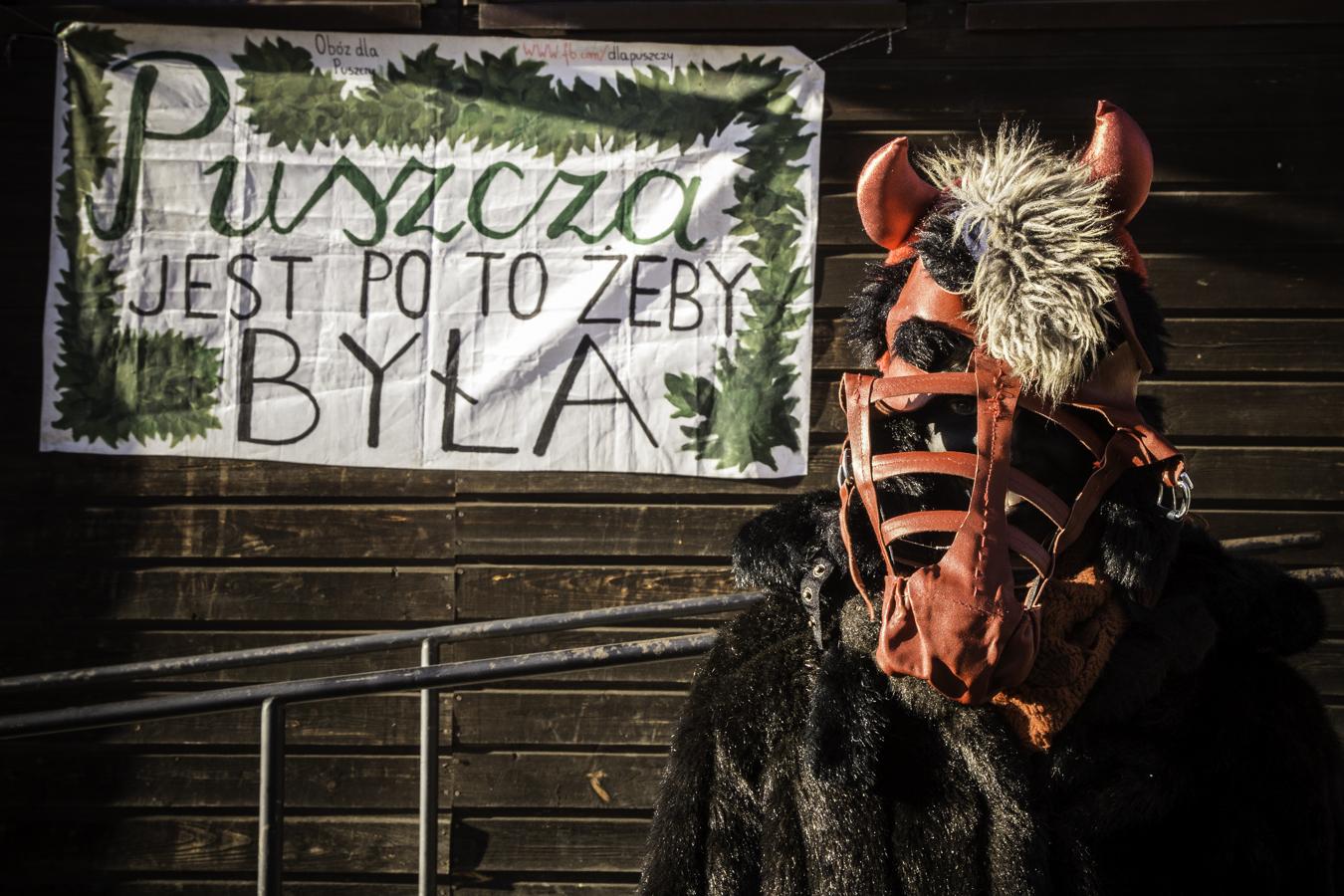 Diabeł pod budynkiem starej szkoły w Teremiskach na tle napisu Puszcza jest po to, żeby była.